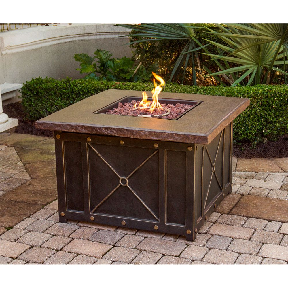 Summer nights gas fire pit with durastone top summrnghtpcfp in