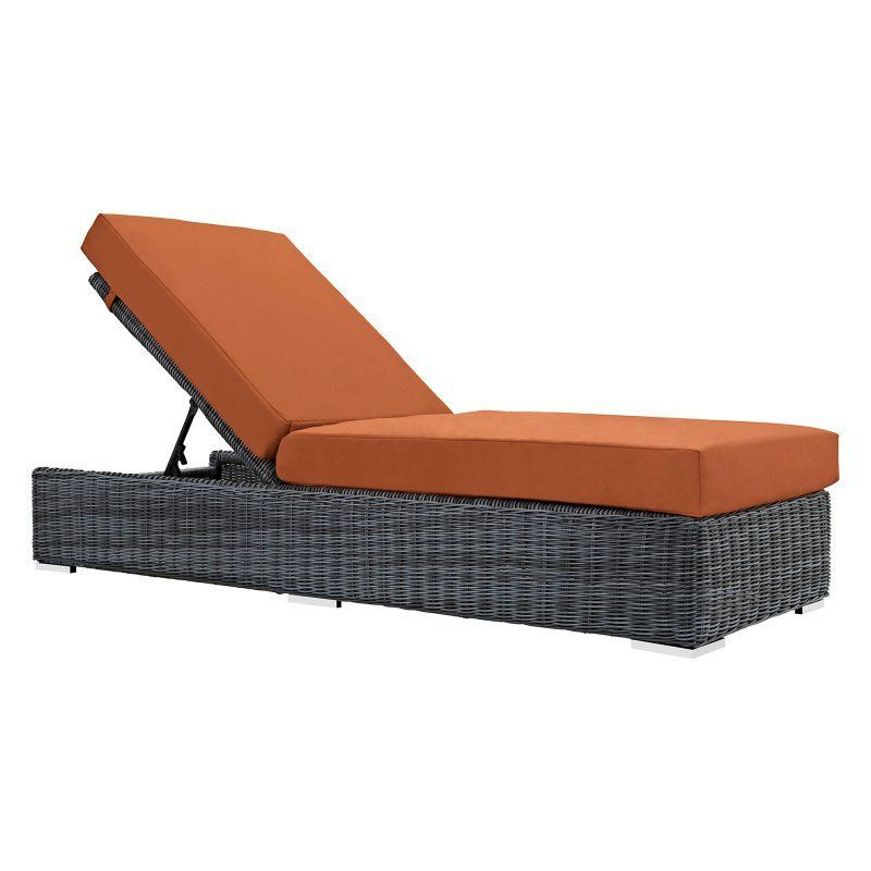 modway summon wicker outdoor chaise lounge with sunbrella cushion