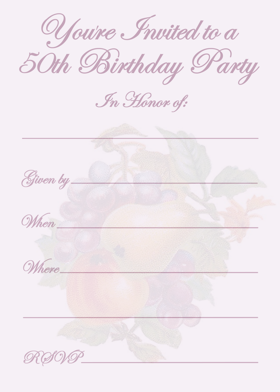 50th Birthday Party Invitation Templates | Party invitation ...