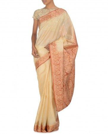 Cream Sari with Burnt Orange Floral Pallu by Dia Kapoor Shop Now: bit.ly/diaksaris #Embroidery #Luxury #Fashion #DesignerWear #Multicolour #India #Pastel #Ethnic #Desi #ExclusivelyIn #Indian #Elegant #Gorgeous #Designer #WeddingWear #Golden #Sari #Saree #PartyWear #Multicolor #OccasionWear #Floral #Paisley #Embroidery