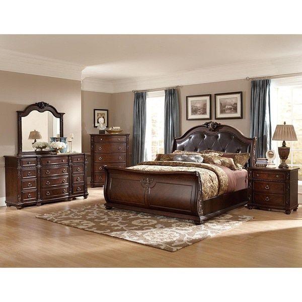 Oakmont Manor Black Leather Tufted 5 Piece Marble Top Bedroom Set