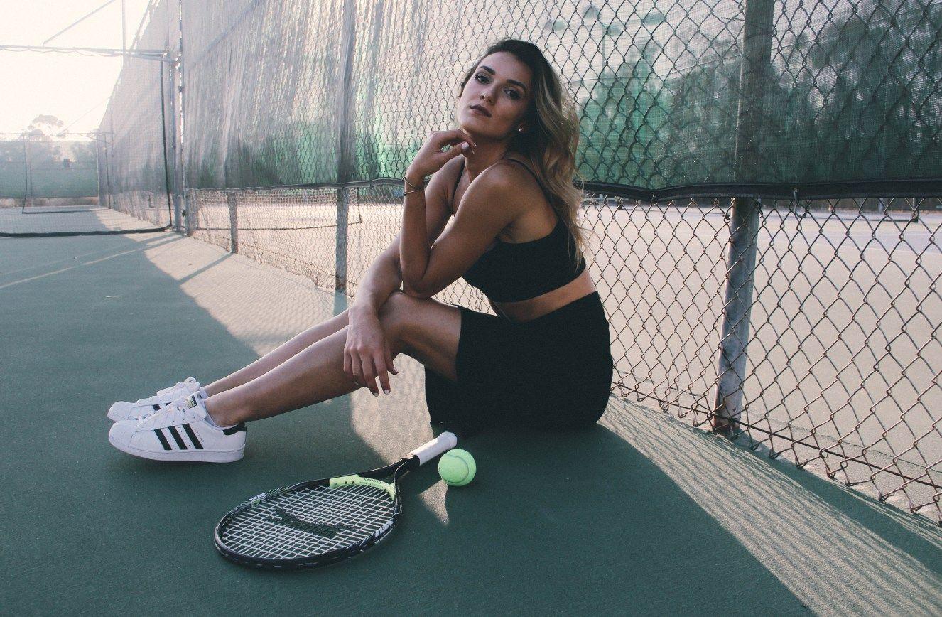 High Fashion Editorial Reformation Adidas Tennis Court Shoot Nesha Torres Shotbynesha Tennis Court Photoshoot Tennis Photos Tennis Photography