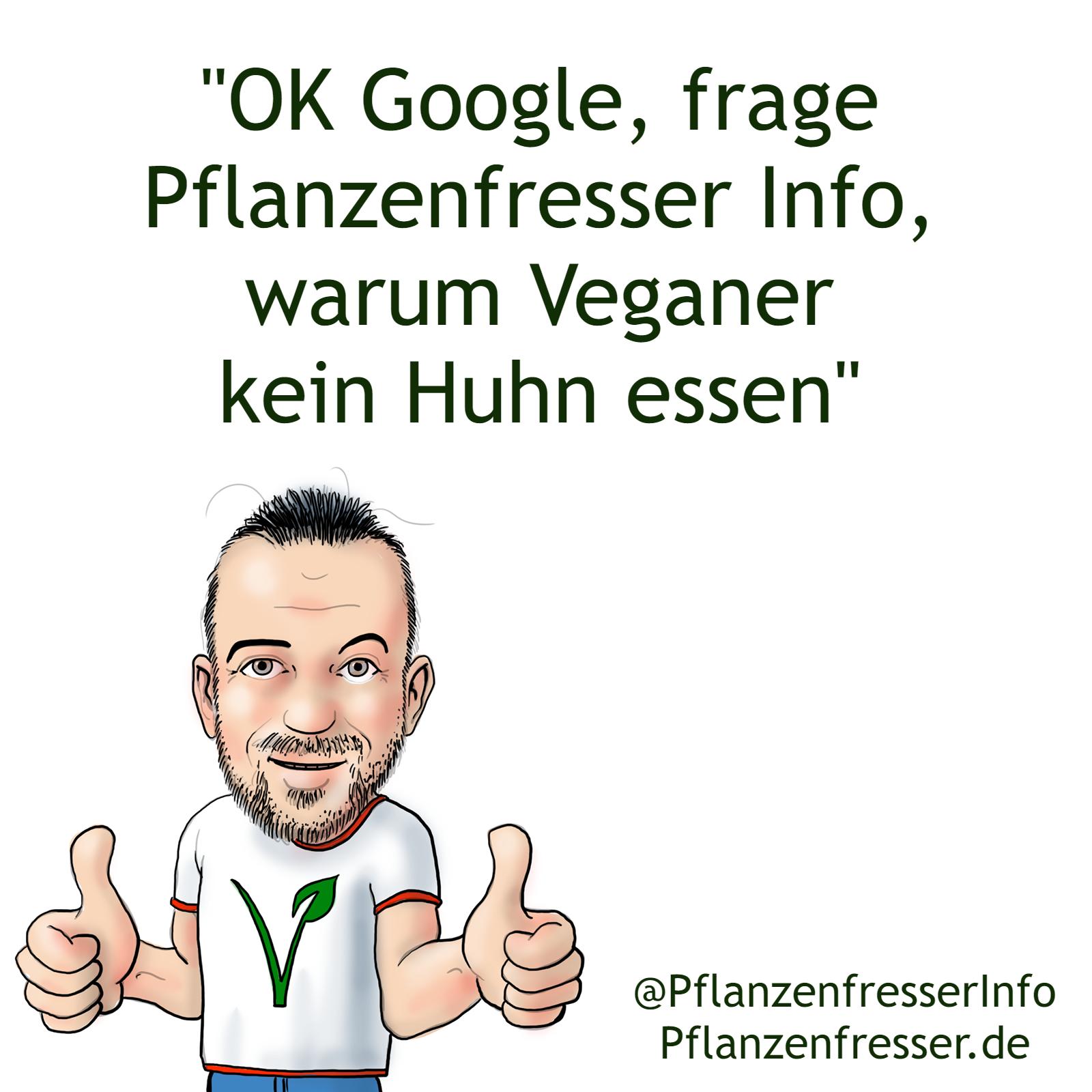 OK Google, warum essen Veganer kein Huhn?  #plantbased #veganfood #vegansofig #healthy #crueltyfree...