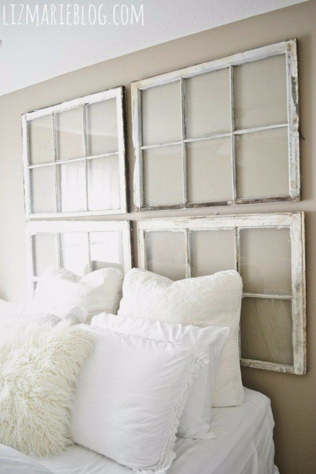 31 fabulous diy headboard ideas for your bedroom window headboard diy headboard ideas diy antique window headboard easy and cheap do it yourself headboards solutioingenieria Images
