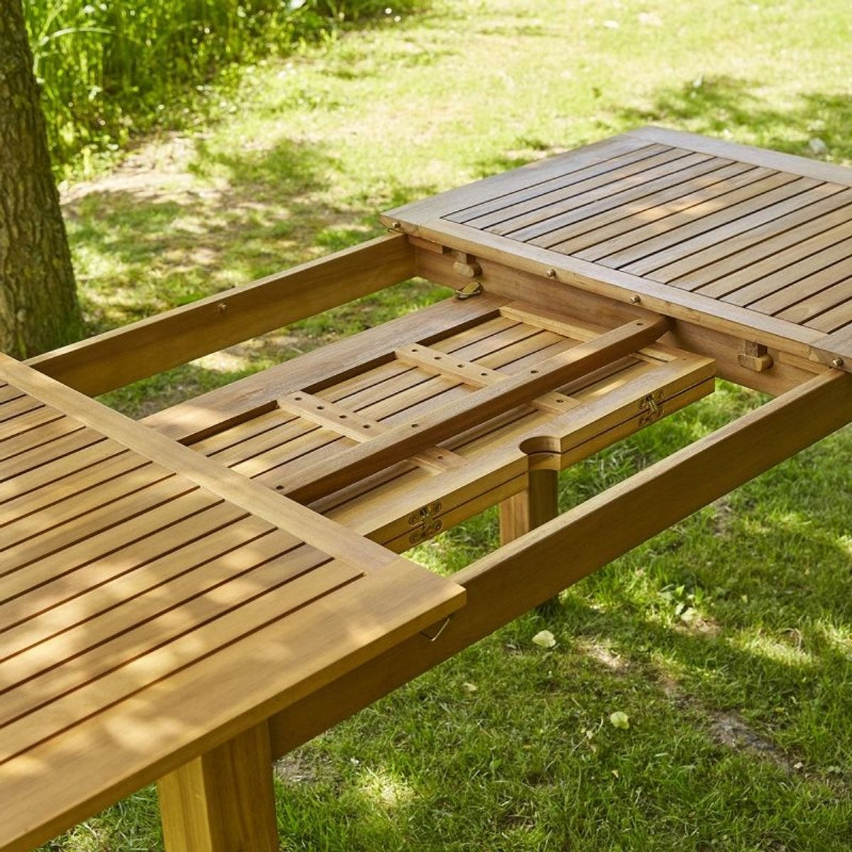 Table de jardin en bois d\'acacia FSC avec rallonge 8 à 10 ...
