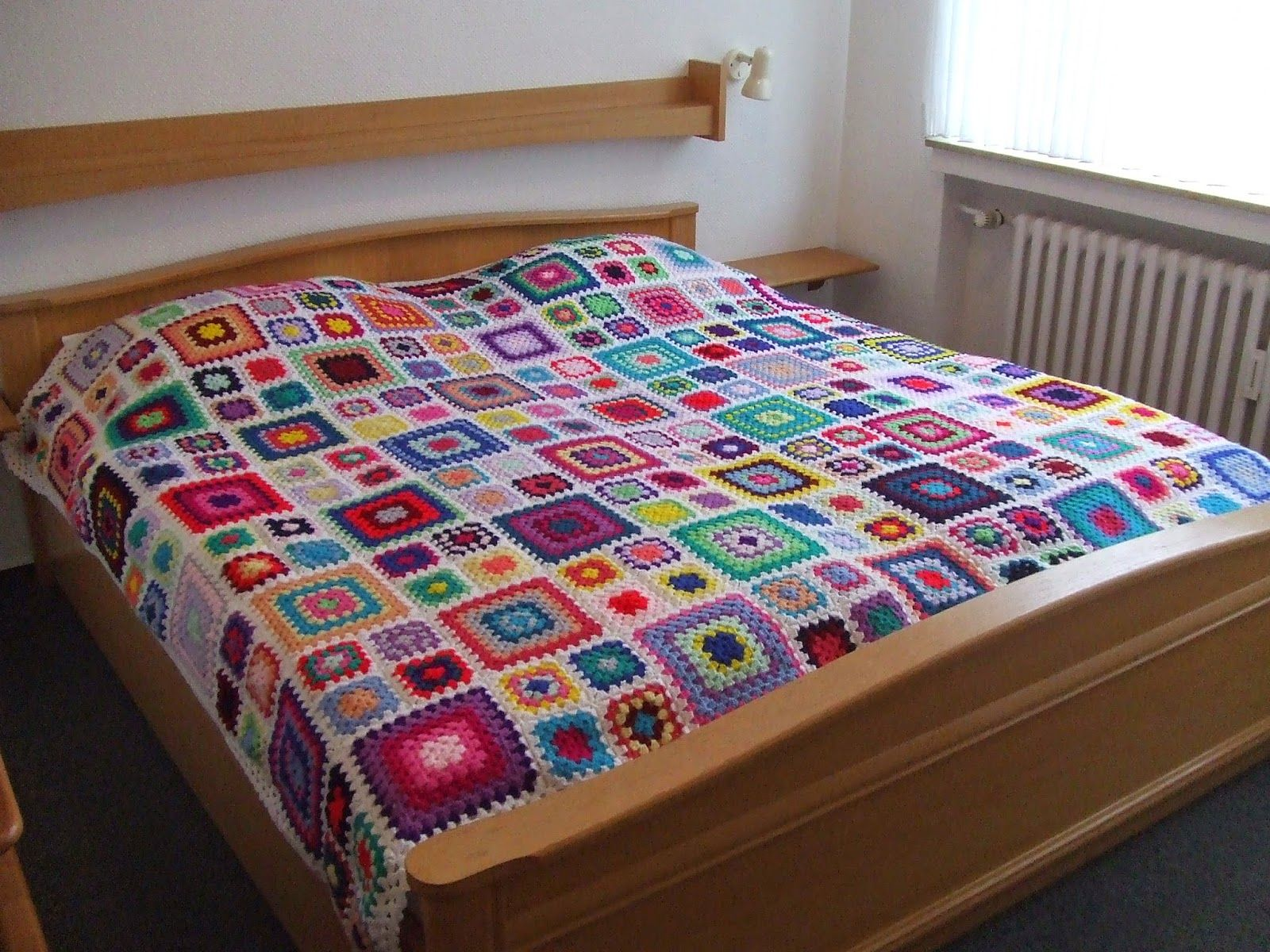 My World Of Crochet Multicolor Granny Square Bedspread Is Finished