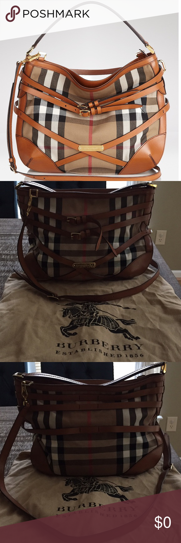 f4424d8b4576 Burberry Bridle House Check Small Dutton Hobo House Check fabric