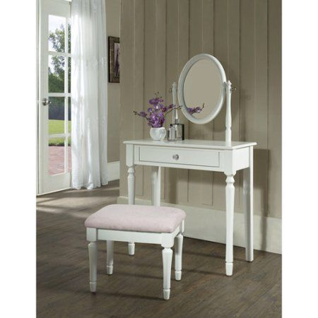Princess Bedroom Vanity Set with Mirror and Bench, White | Kids ...