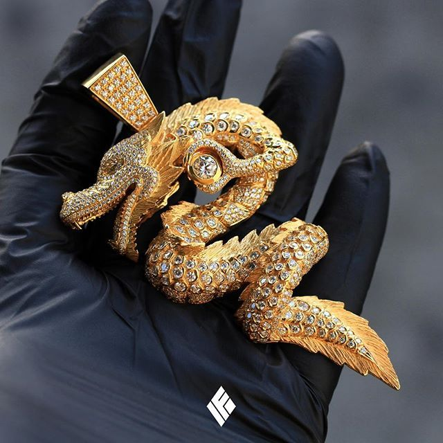 84a2549baf8 Solid 18K Standard Size Dragon Piece Fully Iced Out. Custom made to order.  For any custom inquiries email us at INFO IFANDCO.COM  Dragon   CustomJewelry   ...