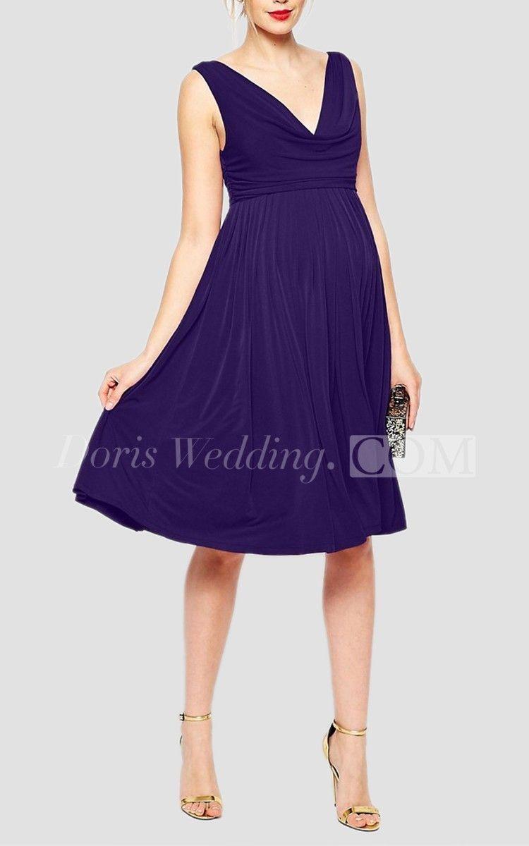 Sleeveless v neck empire aline short bridesmaid dress with pleats