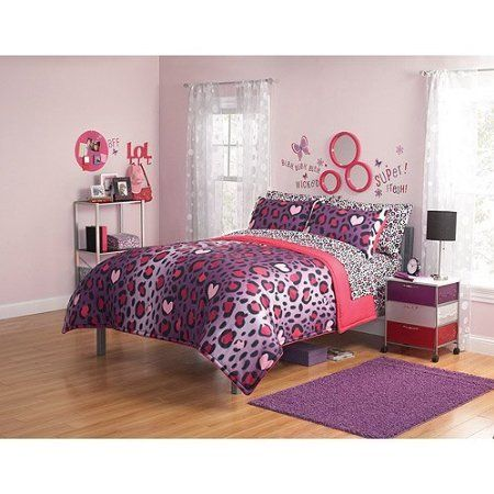 pink+cheetah+print+bed+set+pictures | 3pc Girl Pink Purple ...