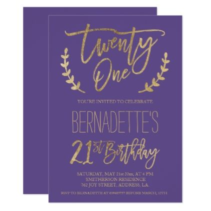 Faux Gold Typography Feathers Purple 21st Birthday Card Invitation