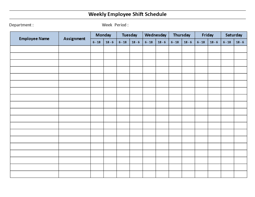 Weekly Employee 12 Hour Shift Schedule Mon To Sat