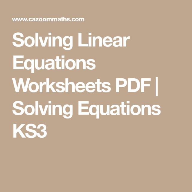 Solving Linear Equations Worksheets Pdf Maths Avhu Pinterest