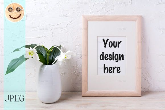 Wooden Frame Mockup With White Lily Graphic By Tasipas Creative Fabrica Free Packaging Mockup Design Mockup Free Frame Mockups