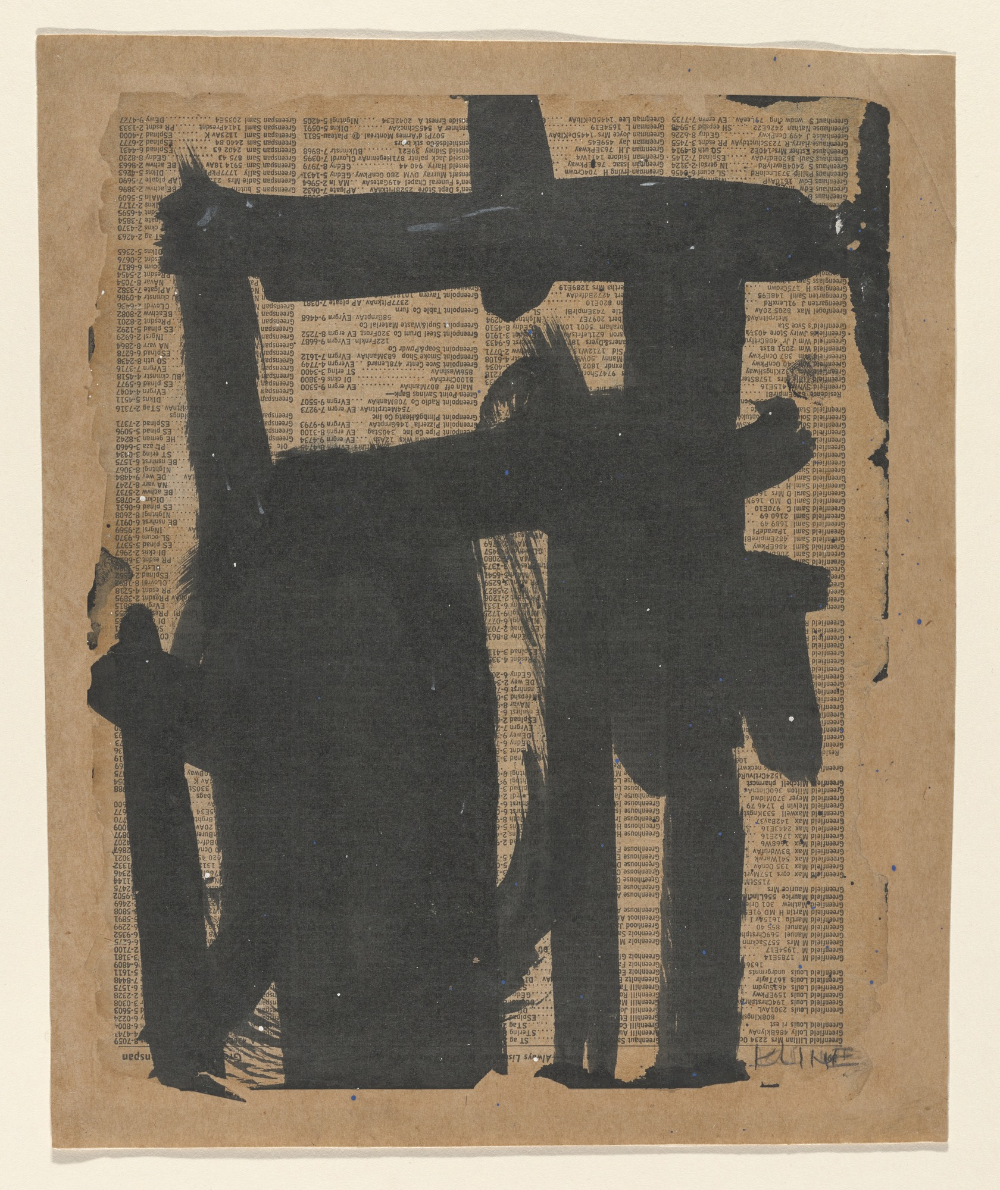 Franz Kline. Untitled. 1951. Ink on telephone book page on board. 11 1/4 x 9