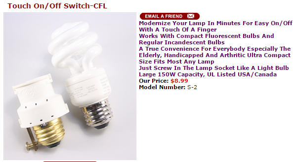 Touch On Off Switch Cfl Compact Fluorescent Bulbs Bulb Incandescent Bulbs