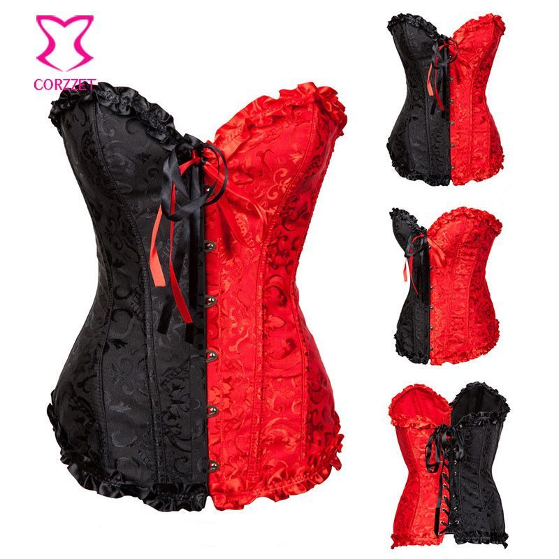 Sexy Korsett For Women Body Shaper Black and Red Bustier Lingerie Corpetes e Espartilhos Corset Corselet Overbust Corsets XXL Sexy Gifts Valentine's Day Wife Honeymoon