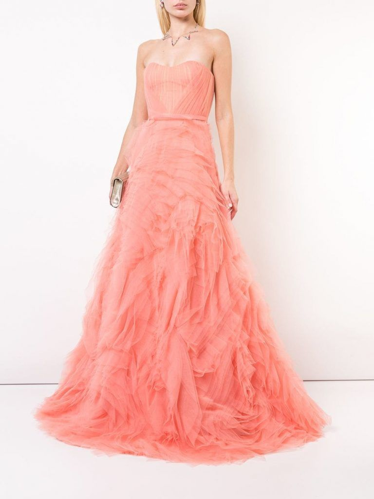 6ddced5111 MARCHESA NOTTE long tulle dress in Pantone Color of the Year 2019 Living  Coral at Fartech