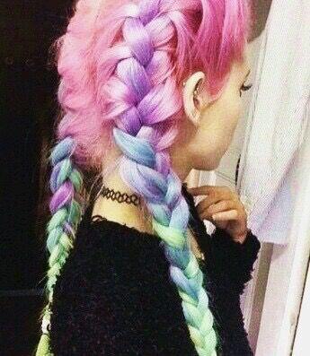 aesthetic blue hair braid cool