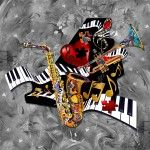 Contemporary Music Canvas Art -Piano Sax Trumpet Print Juleez
