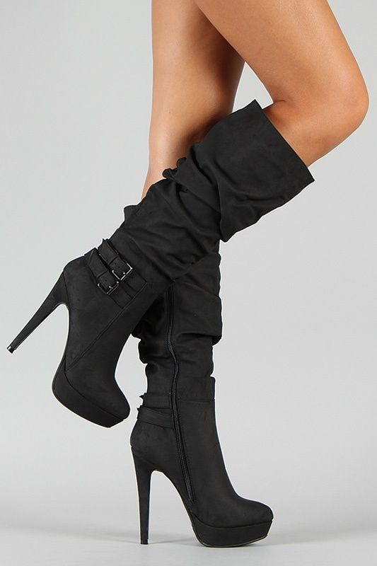 Fashion Wild Rose Gilly 45 Slouchy Buckle Knee High Boot 3144 |2013 Fashion High Heels|