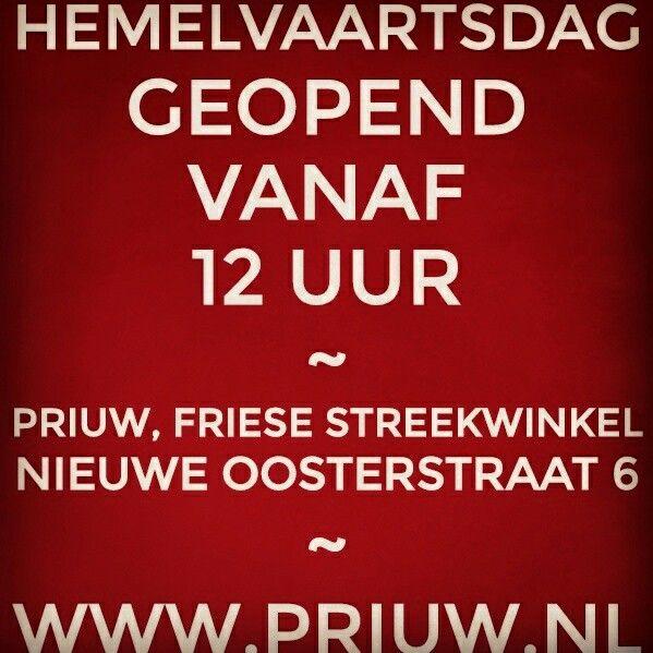 Hemelvaartsdag is de Friese streekwinkel geopend van af 12u. Priuw is gevestigd,  nieuwe oosterstraat 6 in Leeuwarden. WWW.PRIUW.NL #localfood #localshop #local #food #wine #beer #cheese #funshopping #gifts #fairtradeproducts #fairtradefood #fairtrade