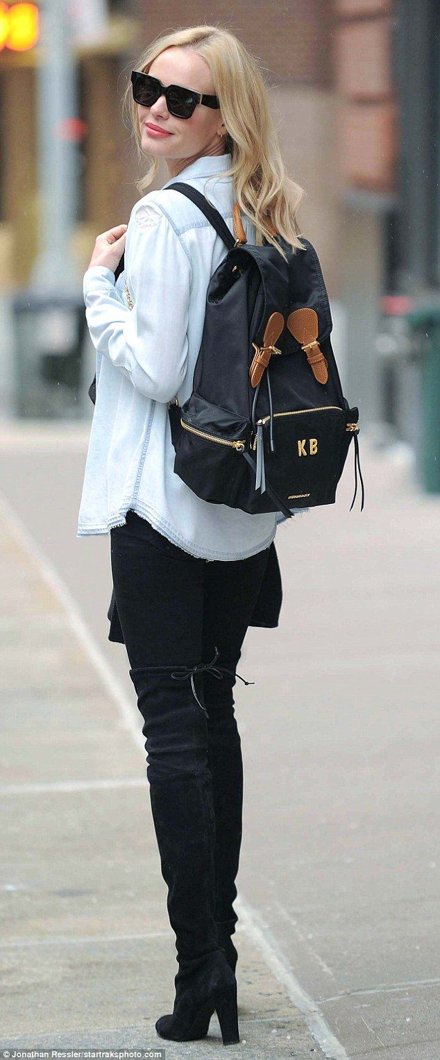 It-Bag  Kate Bosworth was spotted leaving The FourteenJay Salon in NYC with  her Burberry . 8f1a9f71e7226
