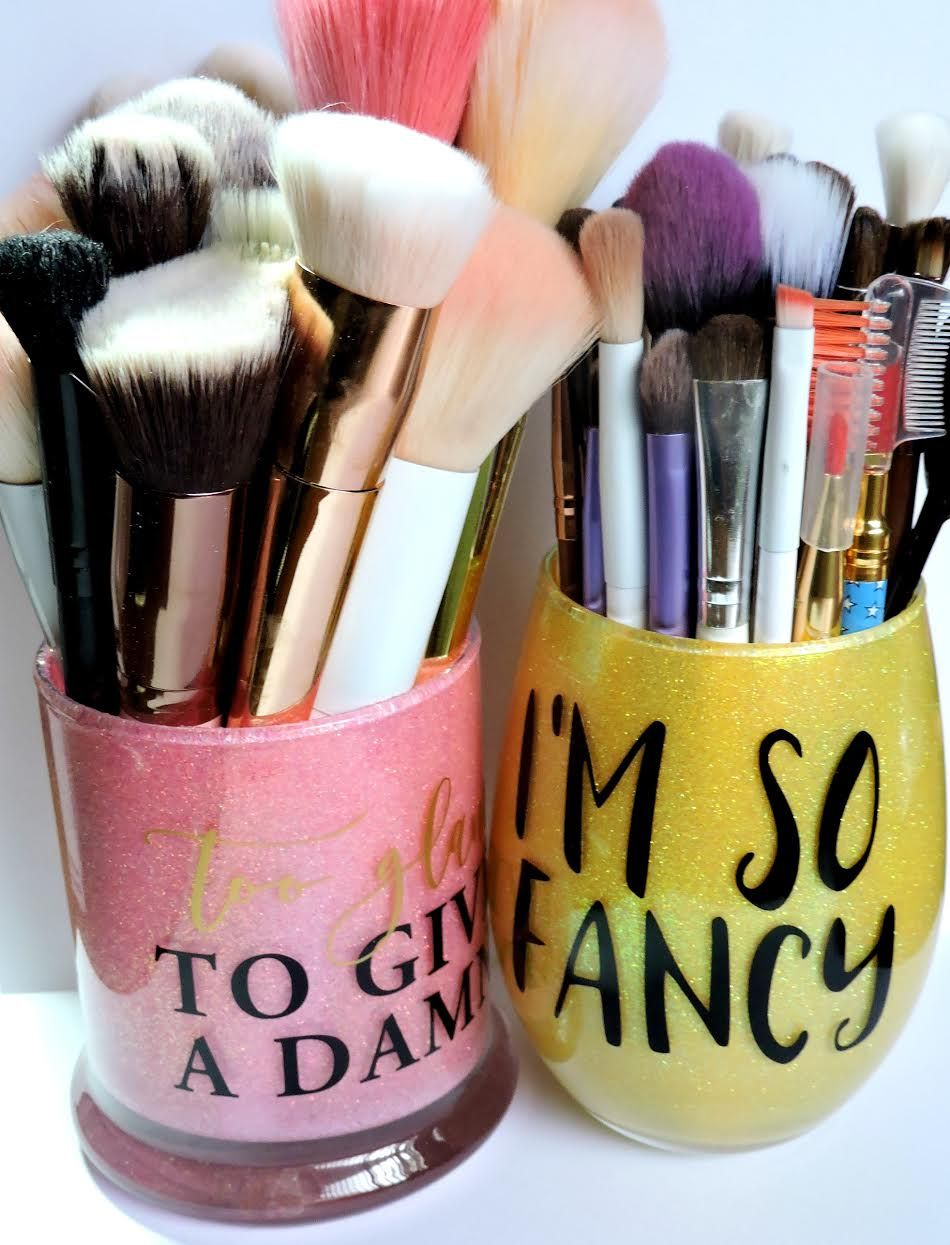Etsy Makeup Brush Holders Review Hand Decorated Makeup Brush - Vinyl cup brush