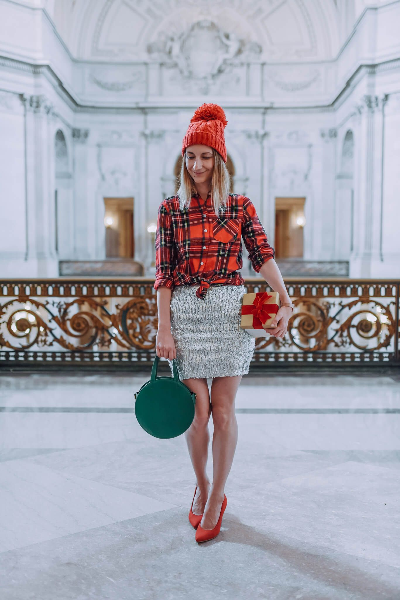 c14d853691e How to wear sequin and plaid. Perfect Christmas Party outfit ideas . Silver  sequin mini skirt outfit. What to wear to an office holiday party  ootd ...