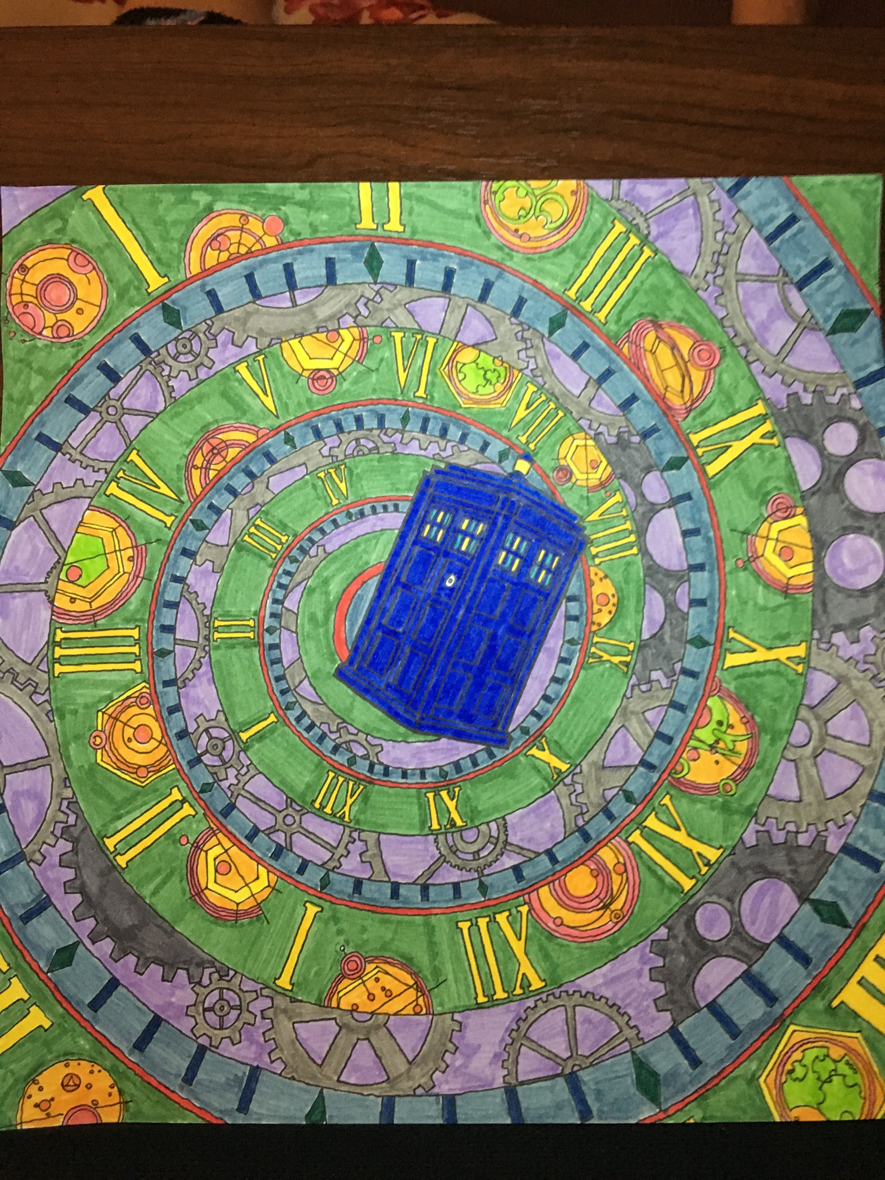 tardis in the time vortex from the doctor who coloring book