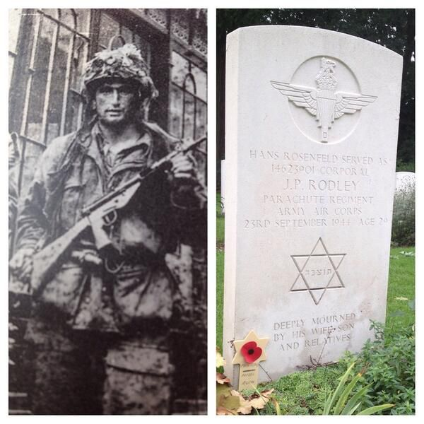 Cpl. Rodley, born in Germany as Hans Rosenfeld,fled to UK after Kristallnacht,then joined UK army Kia 23-9-1944. Immense respect, RIP