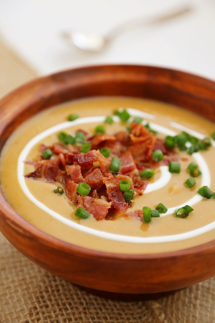 Loaded Sweet Potato Soup – Super creamy stovetop soup is healthy + easy for weeknights or holidays! Serve with salad and crusty bread. Thecomfortofcooking.com