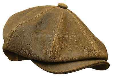 Distressed Leather Newsboy Gatsby Cap Brown Ivy Driving Golf Hat Cabbie L Xl Xxl Mens Accessories Fashion Mens Accessories Hats For Men