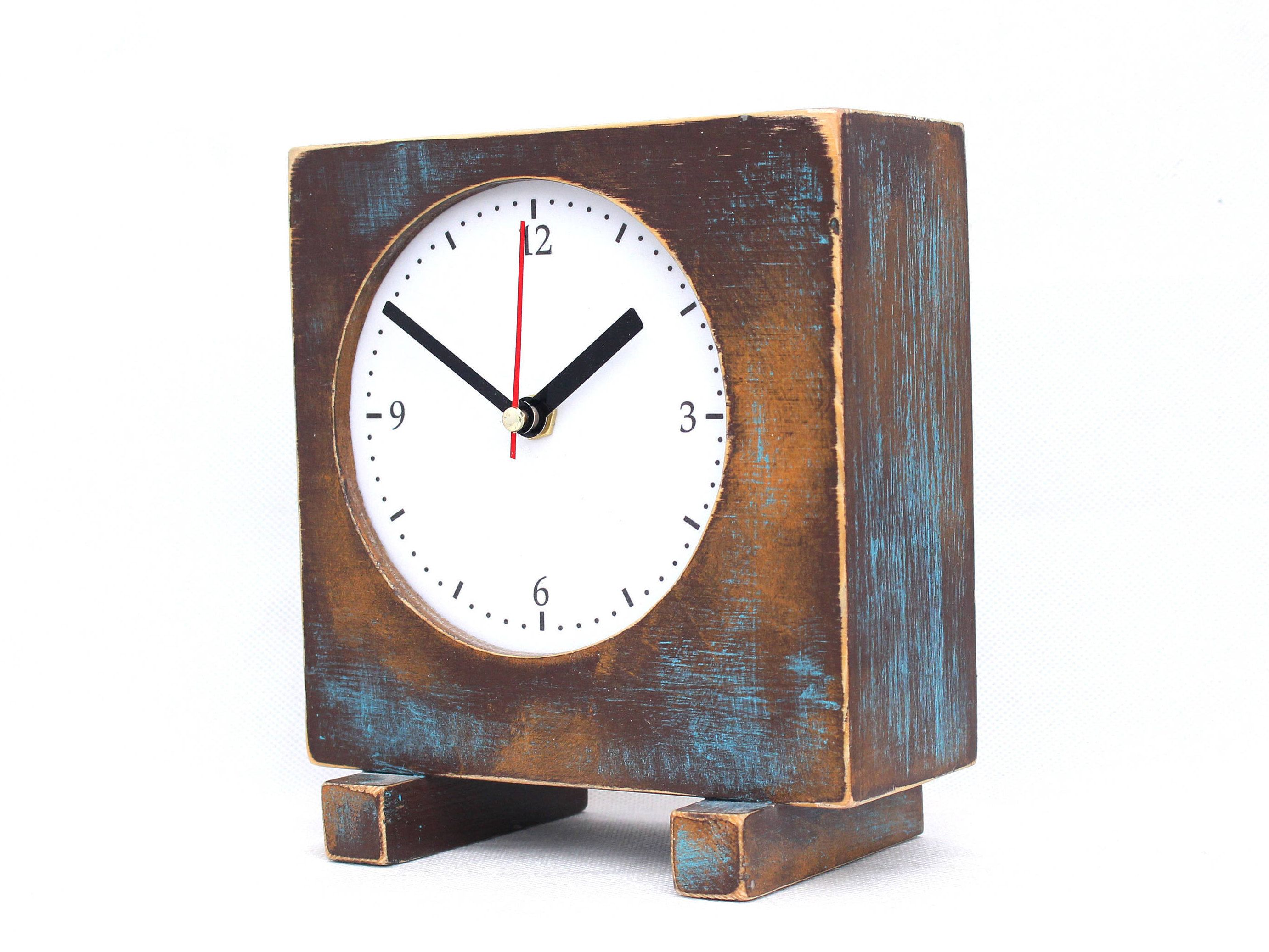 Desk Clock Brown Gold Turquoise Wooden Table Clock Unique Square