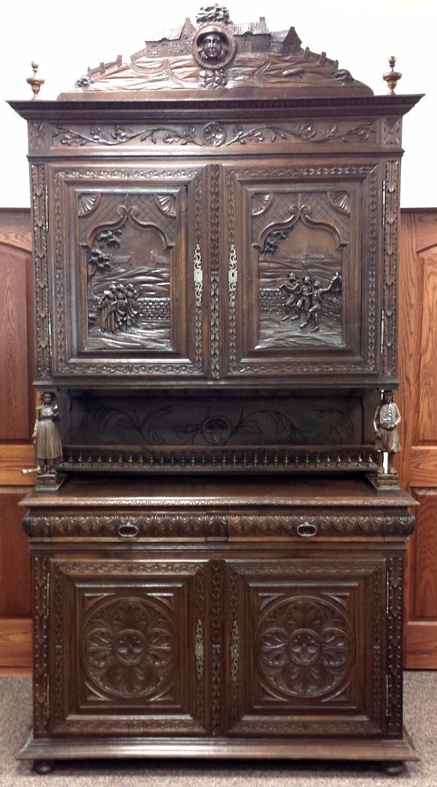 #Antiques #Gifts Antique Northern German carved wood scenic breakfront  cabinet! Intricate! # - Antiques #Gifts Antique Northern German Carved Wood Scenic