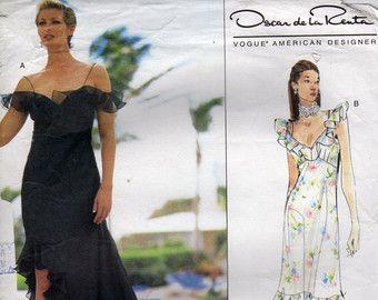 Oscar de la Renta for Vogue Ruffled Dress Pattern 2361