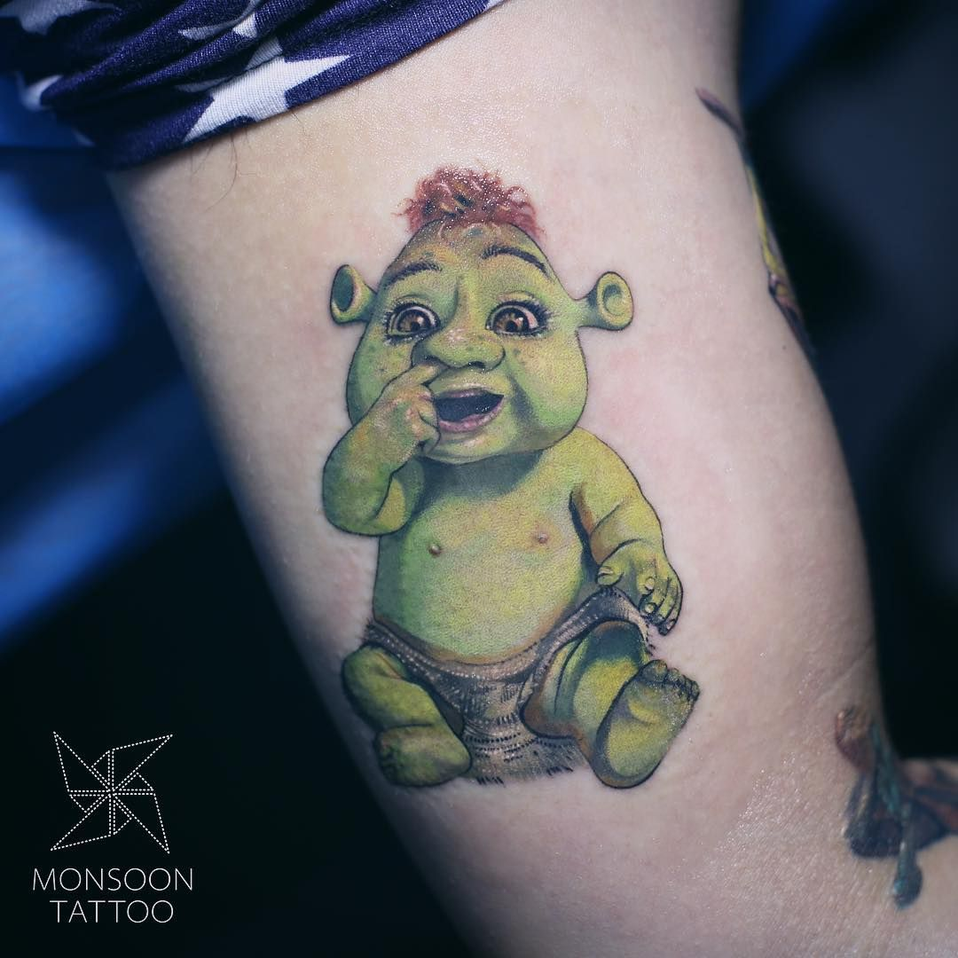 Shrek Baby Cartoon Tattoos Shrek Tattoos