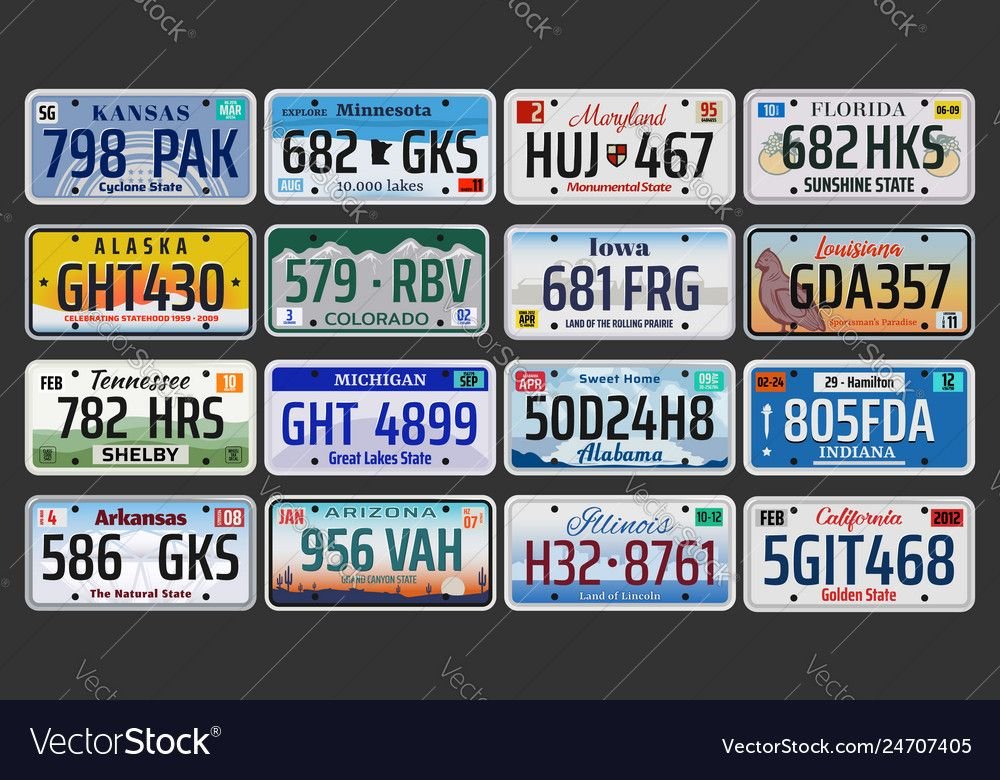 Usa american states vehicle registration plates vector