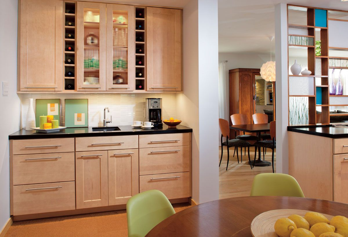 Waypoint Kitchen Cabinets Color Ideas For Living Spaces Style 650 In Maple Honey Sleek Chic