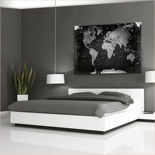 lanakk weltkarte leinwandbild poster pinnwand kork vintage schwarz wei grau haus. Black Bedroom Furniture Sets. Home Design Ideas