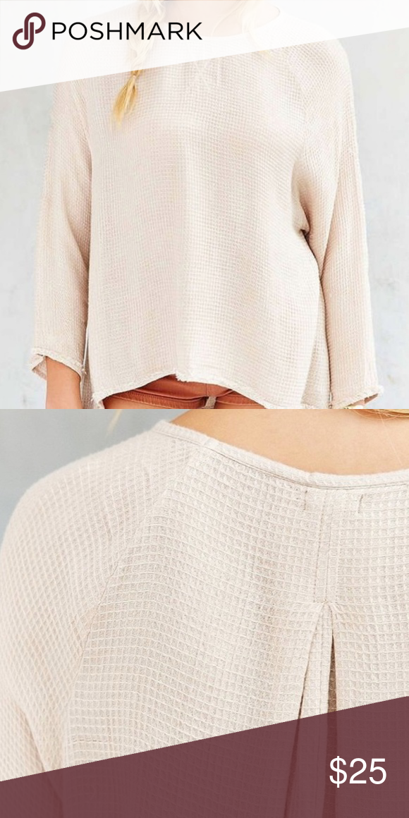 ab4ae3d9 Urban Outfitter Ecote Beige Jetty Cozy Thermal Top Worn only a few times.  In good condition! Natural fray along the edges is so cute!