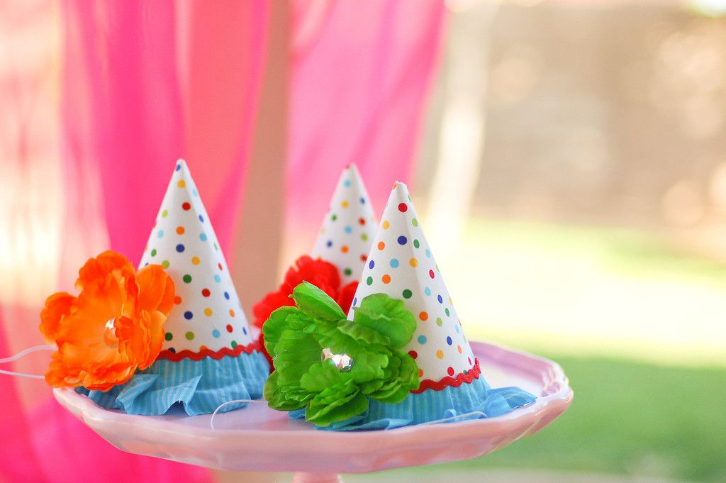 the creator said these are bright polka dot fabric that she used instead on the party hats.