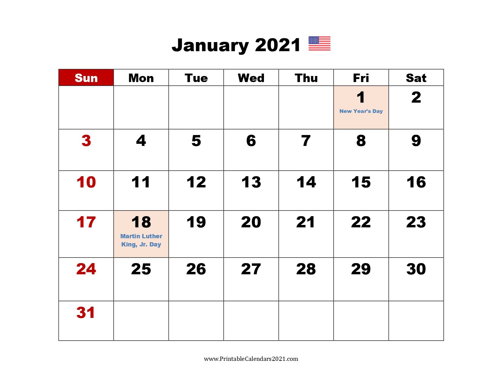 Printable Calendar 2021 January in 2020 | Printable ...
