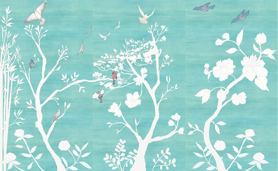 Casart_Chinoiserie-Murals-desat-teal-raw-silk-Combo.jpg (936×576)