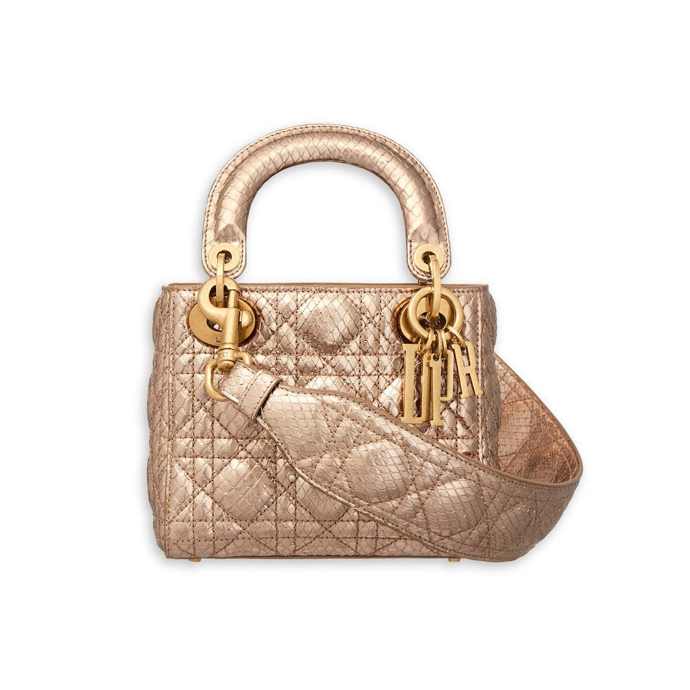 cf90af87b1e Dior Pink Gold-Tone Metallic Python Supple Lady Dior Mini Bag   Bags ...