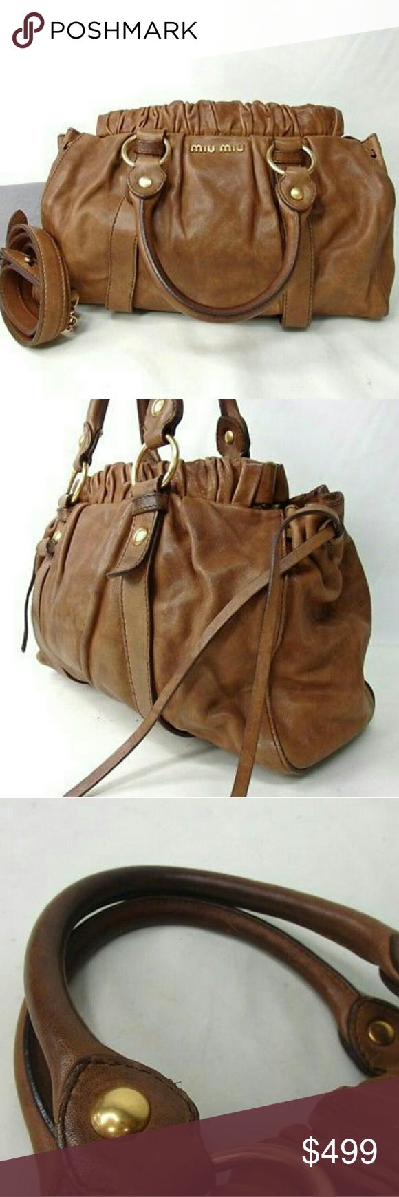 b9ca5ead641e Miu Miu Prada Vitello Lux Calfskin 2way tote bag Handbag Brand miu miu  SizeW38cm x H23cm x D11cm Brown leather shoulder bag satchel Comes with  shoulder ...