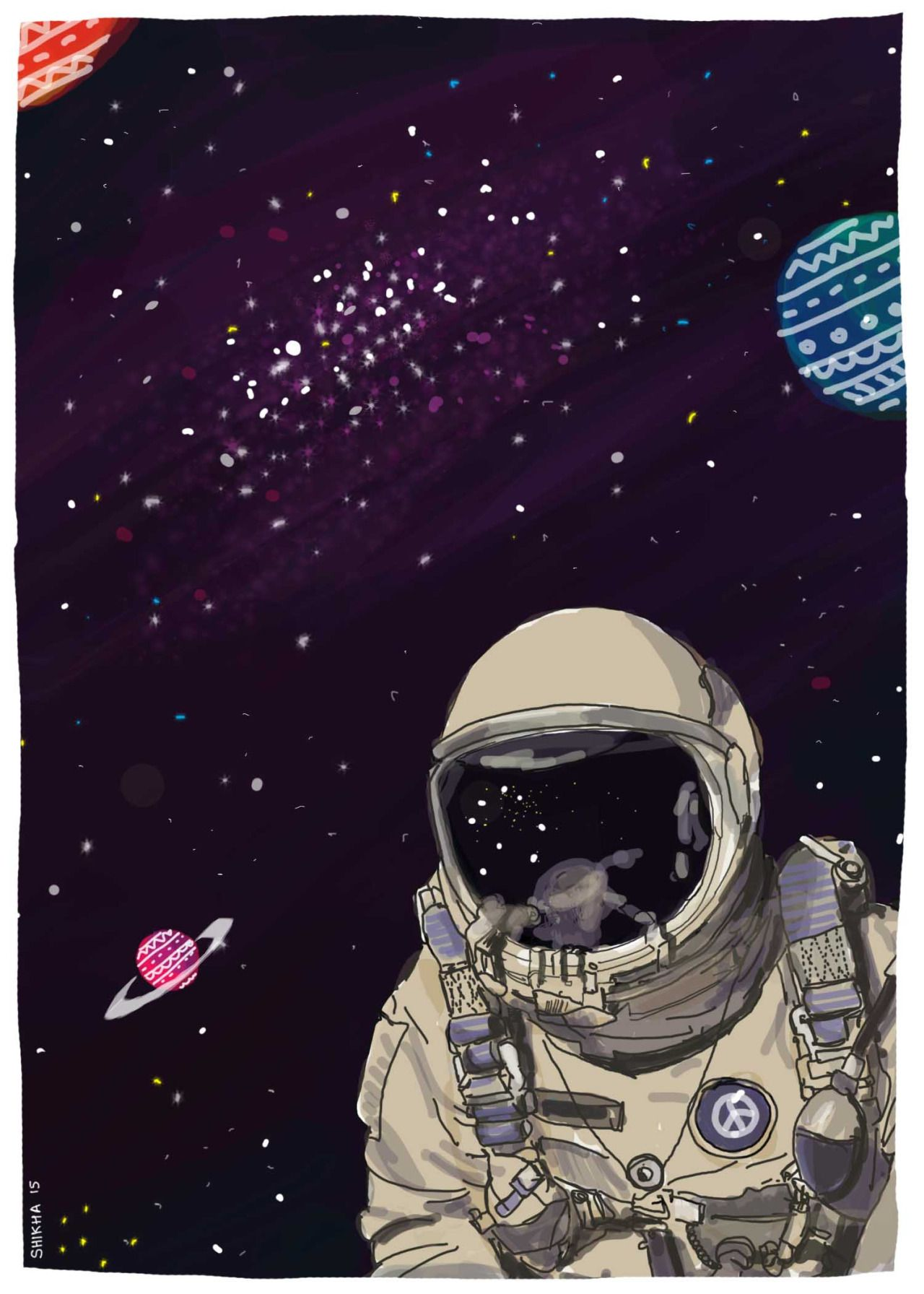 Astronaut In Peace Space Illustration 2 Ilustracion Del