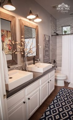 Would Be Nice For The Guest Bath Love Rustic Accents Elegant White Sinks And Cabinetry Gray Back Splash In Shower