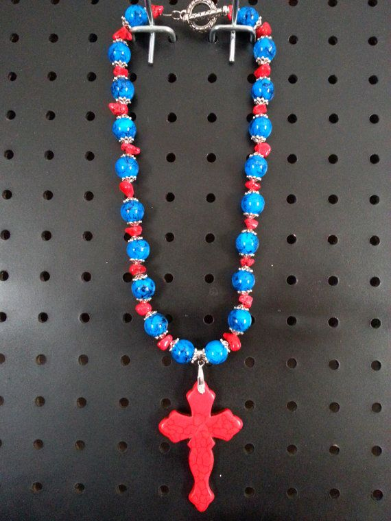Red & Blue Magnesite Cross Necklace on Etsy, $25.00